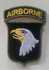 Patch US 101st Airborne langue BLANCHE OD border WWII D-Day REPRO
