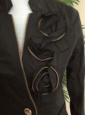 GORGEOUS SILKY BLACK ANTHROPOLOGIE JACKET BY HAZEL, GOLD ZIPPER ROSE DETAILS, SM
