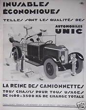 PUBLICITÉ 1929 UNIC LA REINE DES CAMIONNETTES INUSABLES ECONOMIQUES