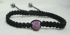 Macrame Shamballa Purple Crystal Lavender Disco Bead Bracelet Adjustable