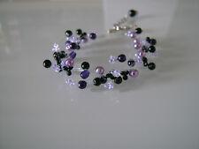 Bracelet Violet/Parme/Mauve/Noir/Cristal p robe de Mariée/Mariage/Soirée perles