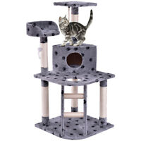 "48"" Cat Tree Pet Kitten Play House Tower Condo Scratching Post w Rope and Ladder"