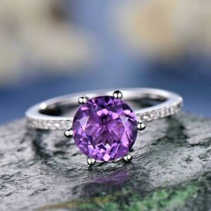 3Ct Round Cut Purple Amethyst Solitaire Engagement Ring 14k White Gold Finish