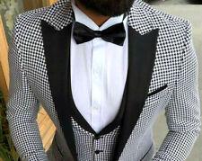 Designer Pepita Tuxedo Wedding Party Suit Vest Fitted Slim Fit 52