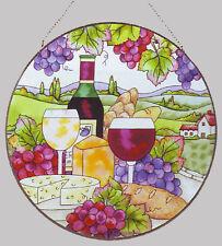 JOAN BAKER GLASS SUNCATCHER - WINE & CHEESE (AP457)