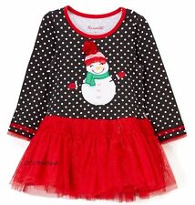 Girls NANNETTE tutu dress 4 4T NWT snowman dot Christmas black red applique