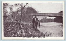 Postcard MD Detour The Kind of Fish We Catch in Detour Fisherman c1920s S6