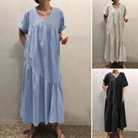 ZANZEA Women Flare Swing Pleated Long Maxi Dress Sundress Abaya Cotton Kaftan