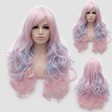 Lolita 65cm Pink Mixed Blue Curly Hair Rainbow Cute Japan Cosplay Drag Race Wig