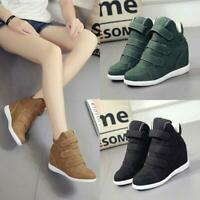Women's Boots Buckle Hidden Wedge Heels High Top Ankle Sneakers Casual Shoes sz