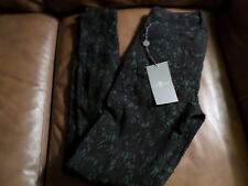 7 For All Mankind in Floral Flocked dark green Black pant - Size 24