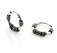 Tiny 15mm Hoops Bali Wrapped Sterling Silver Neverending Hoop Earrings