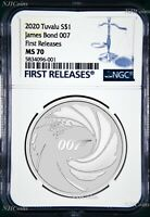 2020 James Bond 007 .9999 SILVER BULLION $1 1oz COIN NGC MS70 First Releases