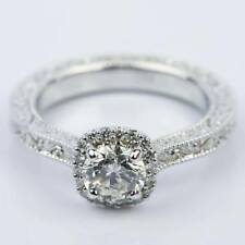 Halo Cz Dia Engagement Ring In 14K White Gold Plating Scroll-Work Milgrain