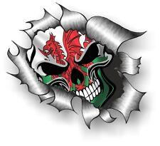 Clásico rasgada abierto Rasgado Metal Rip Gótico Calavera Y Gales Cymru Bandera Pegatina de Coche