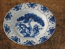 18TH C ANTIQUE ENGLISH DELFT PLATE TREE DESIGN TO WELL