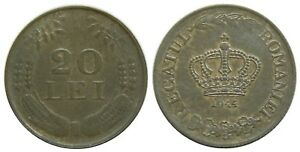 y122 ROMANIA 20 LEI 1944 ZINC COIN KM#62 UNC