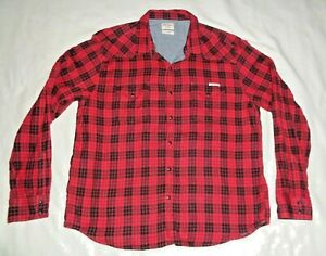 Men's  LUCKY  BRAND  Red Plaid Flannel  Snap Button Down  Shirt  size  XL