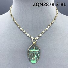 Gold Color Pearls Blessed Engraved Cross Embossed Patina Spoon Pendant Necklace