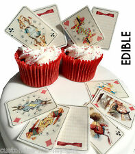 25 alice au pays des merveilles comestibles playing cards cupcake toppers | gâteau | décorations