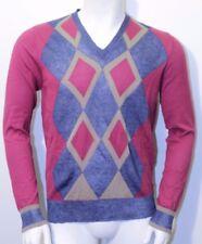 BURLINGTON men's v neck sweater argyle cotton & linen