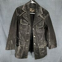 Vintage Women's Montgomery Ward Tannery Leather Jacket Size 11/12