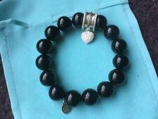 Bracelet Clio Blue pierres noires pampille coeur  argent strass swarovski neuf