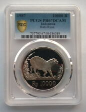 Indonesia 1987 Wild Pig 10000 Rupiah PCGS PR67 Silver Coin,Proof