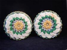 TWO VTG 1950's Cardboard-backed Silver Foil Trivets w/Matching Crocheted Covers