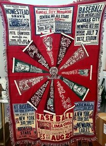 Vtg 1996 Negro Leagues Throw Blanket 75th Commemorative Rare Sample New