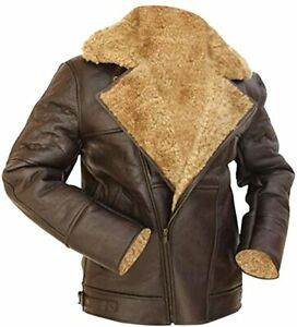 B3 RAF Aviator Brown Ginger Faux Fur Shearling Sheepskin Leather Pilot Jacket
