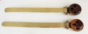 MATCHED PAIR EARLY SAILING SHIP DEAD EYES WITH BRASS STRAPS