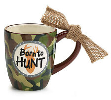 Ceramic Coffee Mug Born to Hunt Camouflage Camo Hunting Outdoors Burlap Knot