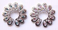 Clip On Fake Non piercing Gem Flower Floral Swirl Nipple shield Ring Bar jewelry