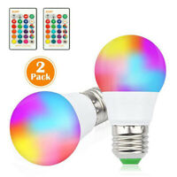 2Pcs E27 RGB RGBW LED Bulb Light Color Changing Lamp Dimmable IR Remote Control