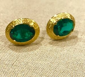 Green Emerald Swarovski Crystal Cuff Links gold plate Excellent Condition