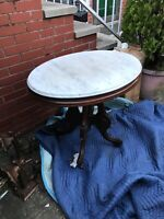Antique American Walnut White marble top Victorian table oval shape