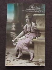 PRETTY WOMAN ON BENCH  - VTG FRENCH COLOR TINTED  REAL PHOTO POSTCARD