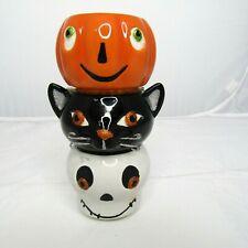 Halloween Hallmark Set of 3 Tealight Candle Holders Black Cat Pumpkin Skeleton