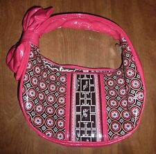 VERA BRADLEY - PIN GEOMETRIC-PRINT VINYL-COATED MED HANDBAG/PURSE w/BOW