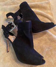 MANOLO BLAHNIK Black Suede Rare Ankle Strap Booties Heels Peep Toe 39.5 / US 9