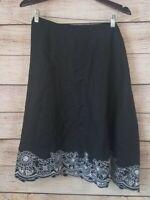 Lane Bryant Skirt Black LINEN Embroidered Floral Hem Pull On Stretch Waist 22/24