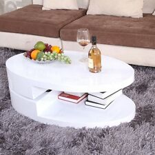 High Gloss White Oval Coffee Table 360° Rotatable Storage Turnplate 2 Layers Kit