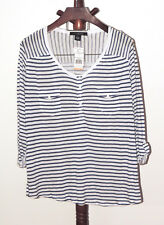 89th & Madison Plus sz 2X Blue White Striped Pullover Knit Rayon Top NWT
