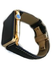 24K Gold 42MM Apple WATCH Series 2 Stainless Steel Black Band Deploy Buckle WS