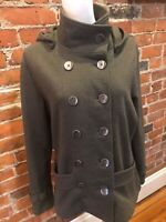 COLDWATER CREEK Army Green Pea Coat Style Jacket Size M 10-12