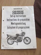 Original factory Set-up Manual Instructions Honda CB350S  / CB450S  1986