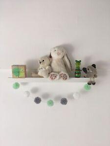 Pom Pom Garland Wool | Mint Green White Grey | Nursery Decor | New Baby Boy Room