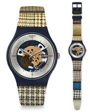 SWATCH MONTRE My Fabric suon129 Analogue squelette silicone beige, bleu, brun,
