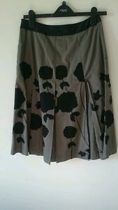 Ladies grey floral 8 panel knee length skirt size 8 from next.